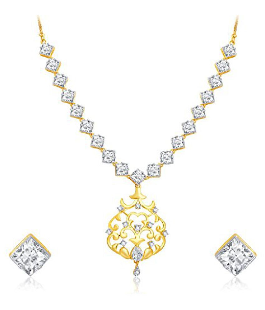 Sukkhi Intricately Crafted Gold and Rhodium Plated CZ Necklace Set For Women