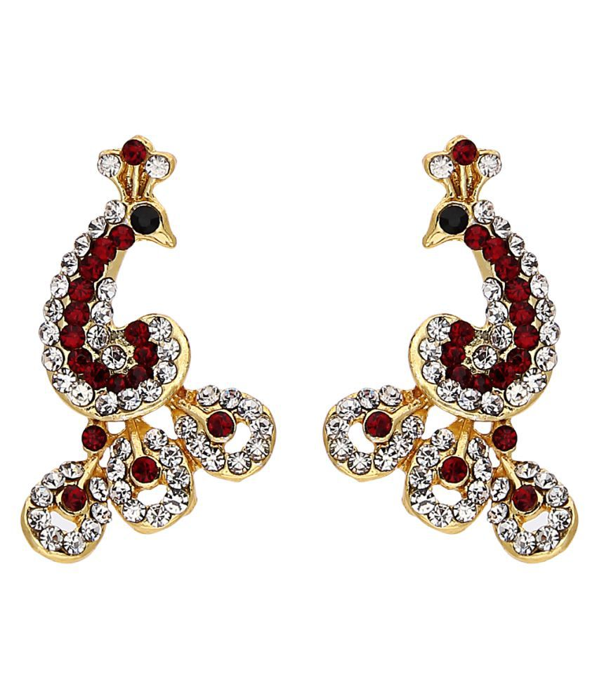 Parisha Traditional Ethnic Classic Peacock Stud Earrings with Crystal Stones ER7090047