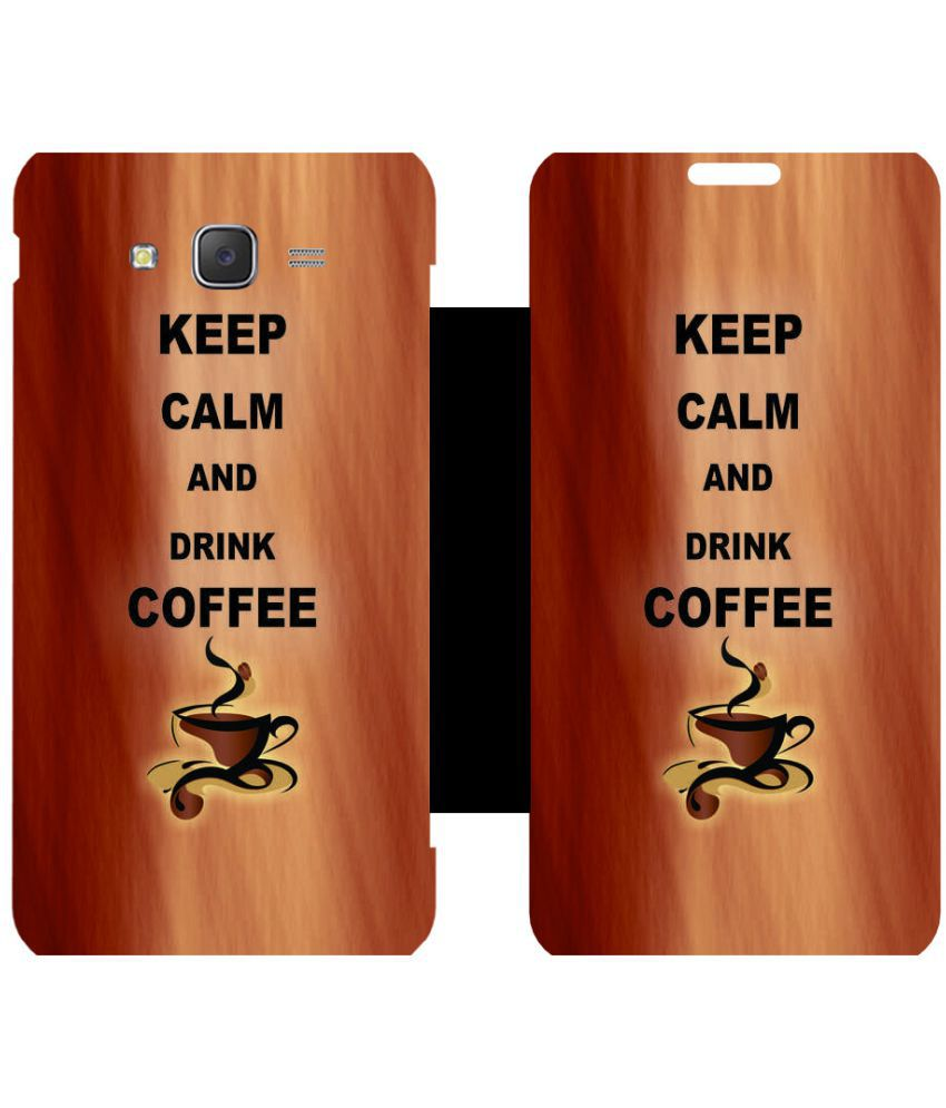 Samsung Galaxy J5 Flip Cover by Skintice - Brown