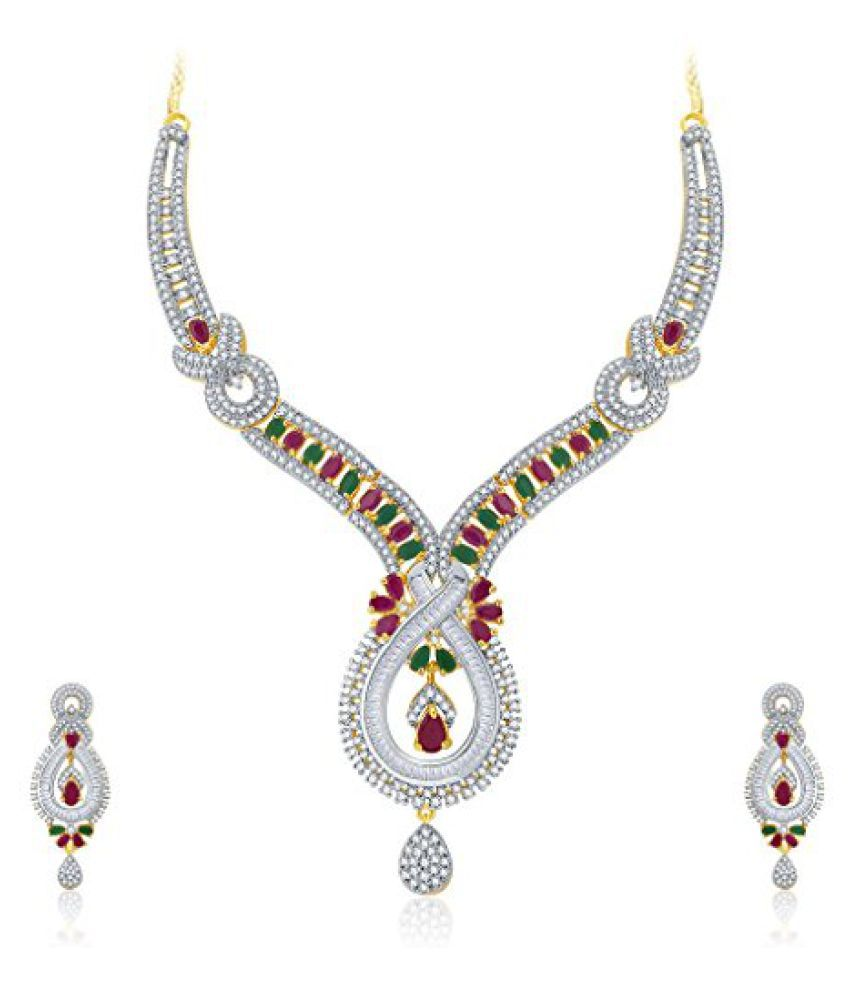Sukkhi Appealing Gold And Rhodium Plated Ruby CZ Neklace Set For Women