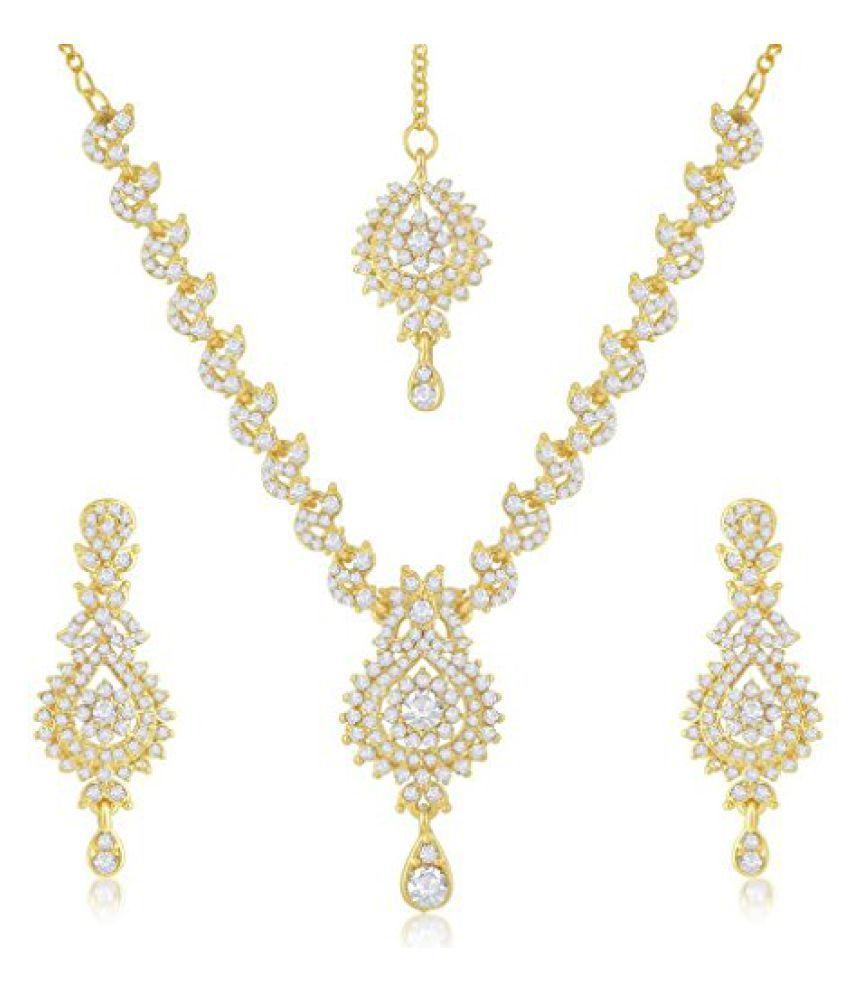 Sukkhi Elegant Gold Plated Australian Diamond Stone Studded Necklace Set for Women