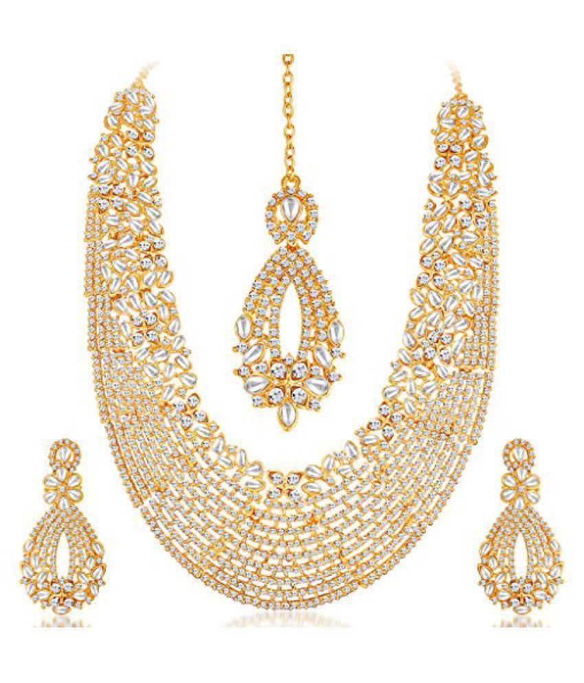 Sukkhi - Kritika Kamra Dazzling Gold Plated Australian Diamond Wedding Necklace Set