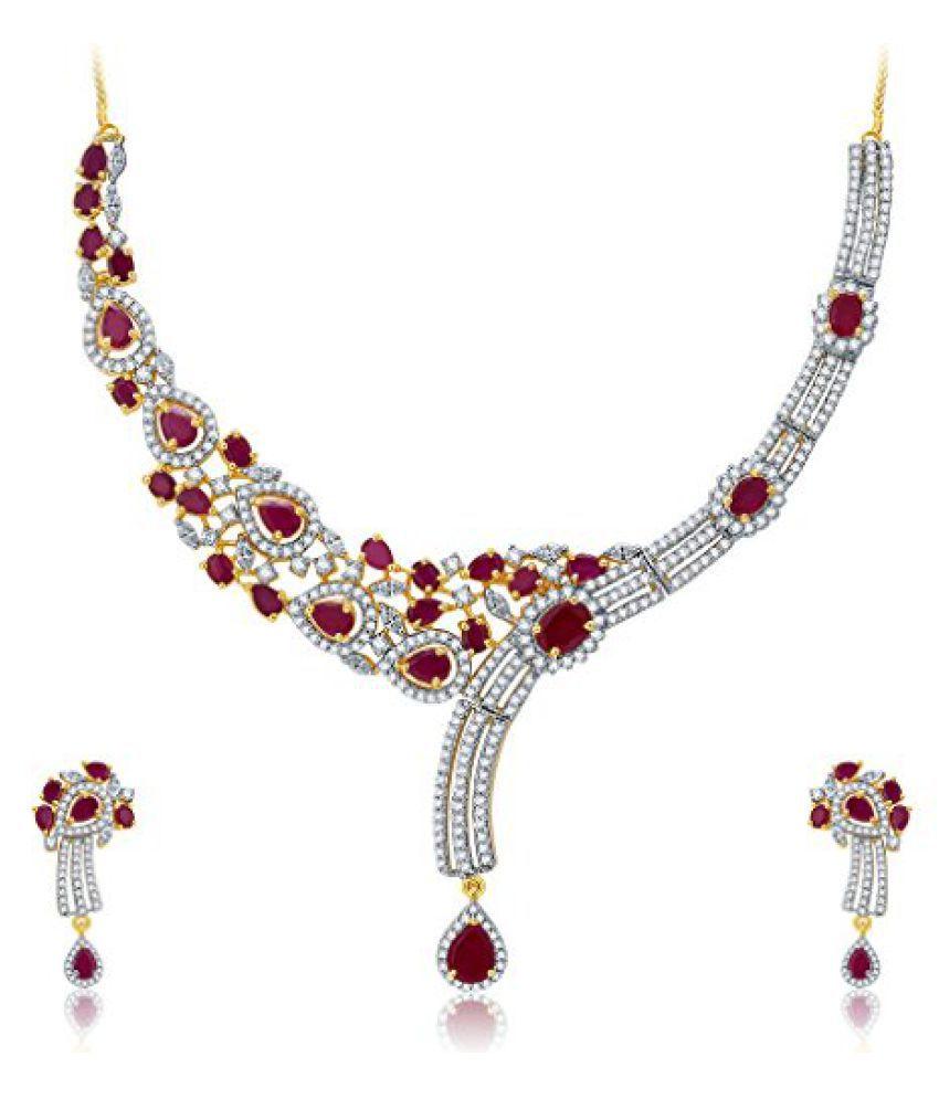 Sukkhi Mesmerizing Gold And Rhodium Plated Ruby CZ Neklace Set For Women