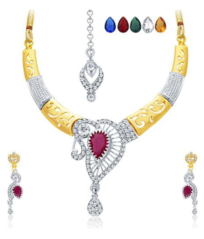 Sukkhi Ritzy Gold & Rhodium Plated AD Necklace Set with Set of 5 Changeable Stone For Women