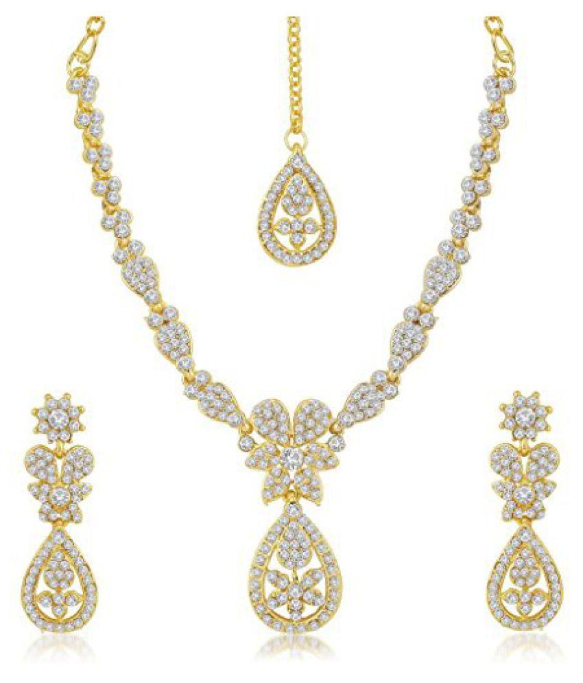 Sukkhi Traditionally Gold Plated Australian Diamond Stone Studded Necklace Set for Women