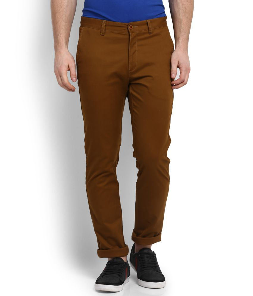Izod Coffee Slim Flat Trousers