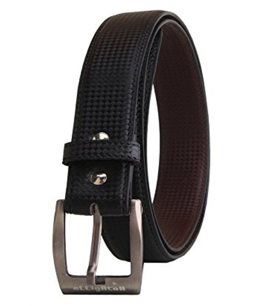 Elligator Black Leather Belt for Men's