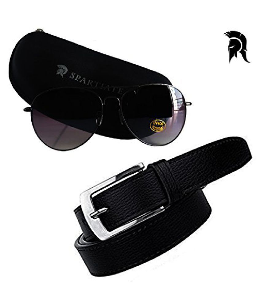Elligator Spartiate 100% UV Protection Aviator Sunglass With Black Belt For Men Combo (One Belt,One Aviator Sunglass)
