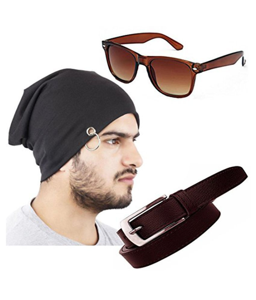 Elligator Stylish Winter Black Sloachy Ring Beanie Cap With Synthetic Belt,Wayfarer For Men (One Cap,One Belt,One Wayfarer Sunglass)