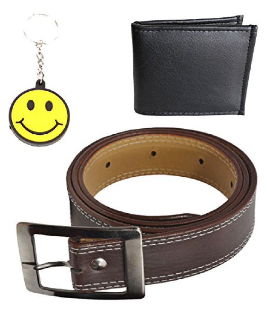 Elligator Trim Brown Belt With Black Wallet & Smiley Key Chain Combo