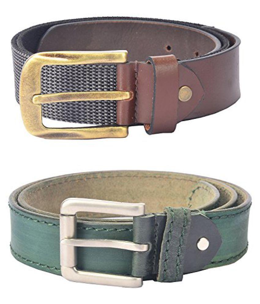Hidelink Unisex Leather Belt, Combo of 2