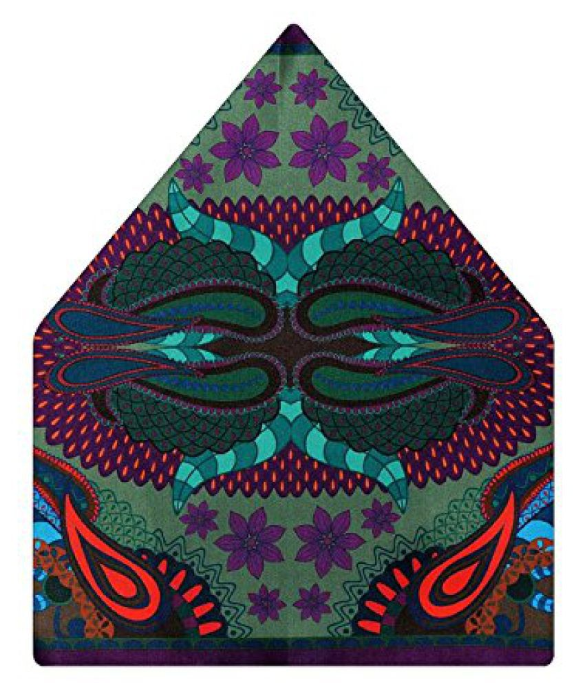 Tiekart Self Design Polyester Pocket Square (Ps519_Multi-Coloured)