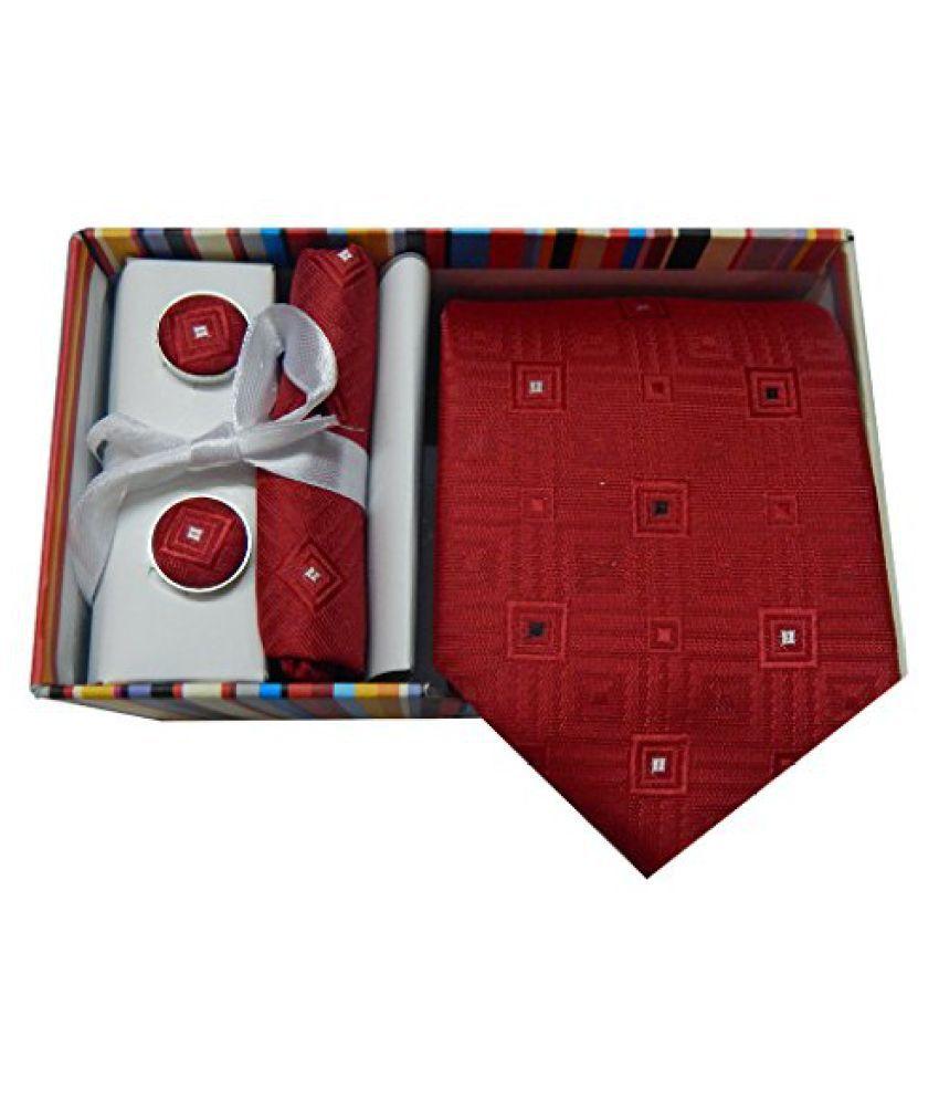 Navaksha Red Graphic Micro Fiber Necktie, Pocket Square and Cuff Links (Gift Set)