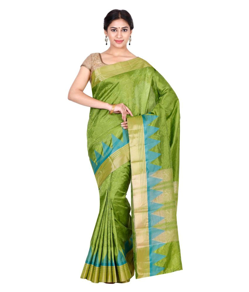 The Chennai Silks Green Jute Saree