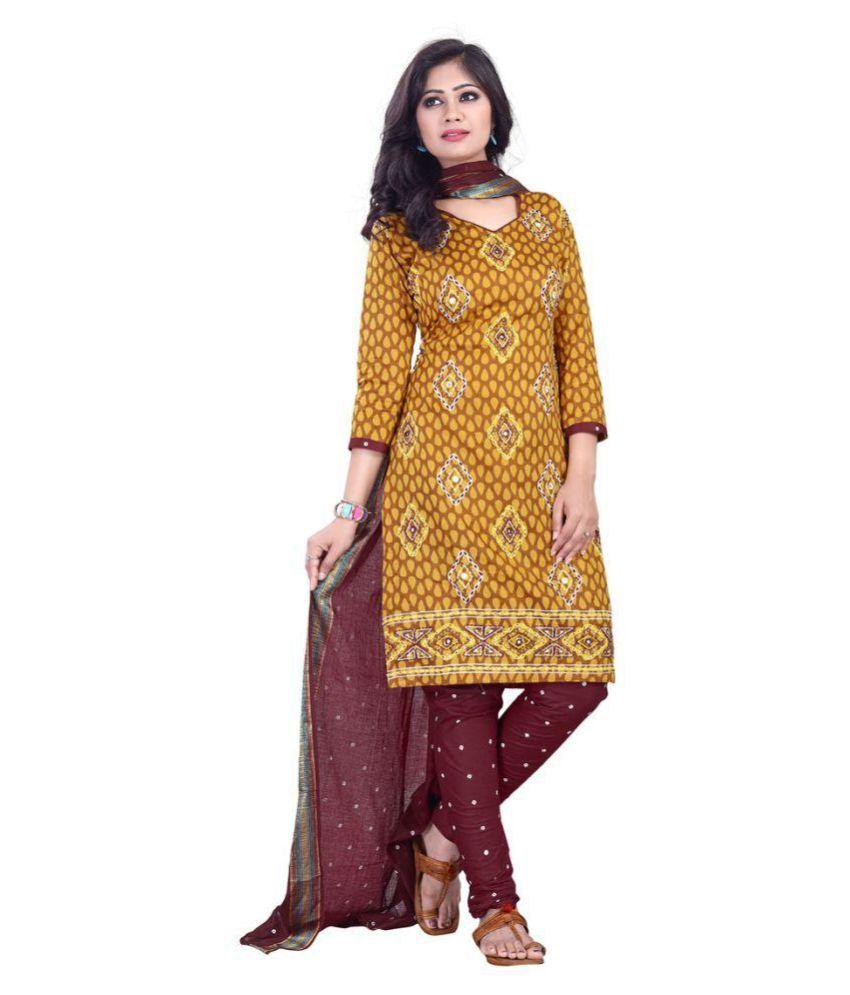 Adorn Fashion Yellow Cotton Dress Material
