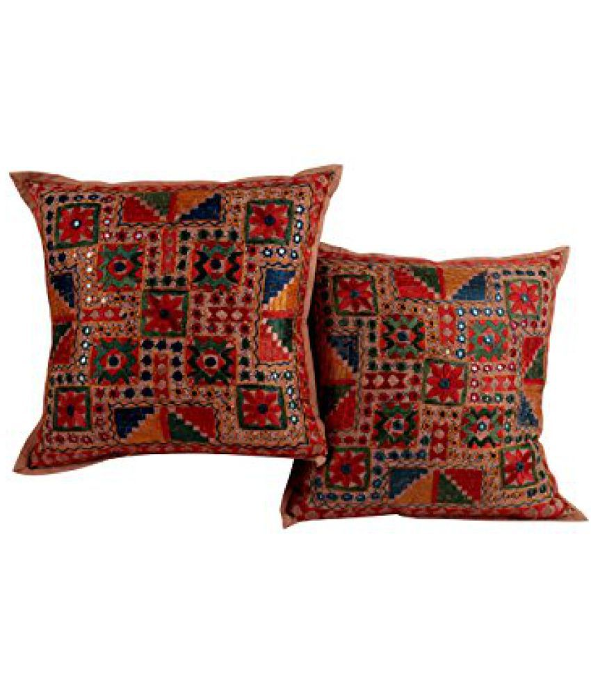 Attractive Beige Set of 2 Trendy Cushion Cover 16x16 Floral Embroidered Pillow Covers Soft Cotton Throw Pillow By Rajrang