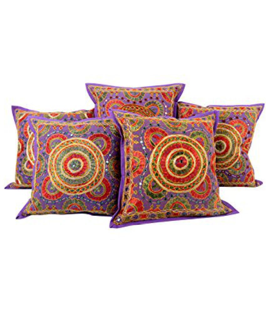 Traditional Purple Set of 5 Indian Cushion Cover 16 by 16 Circle Embroidered Pillow Covers Living Room Accessories Cotton Throw Pillow By Rajrang