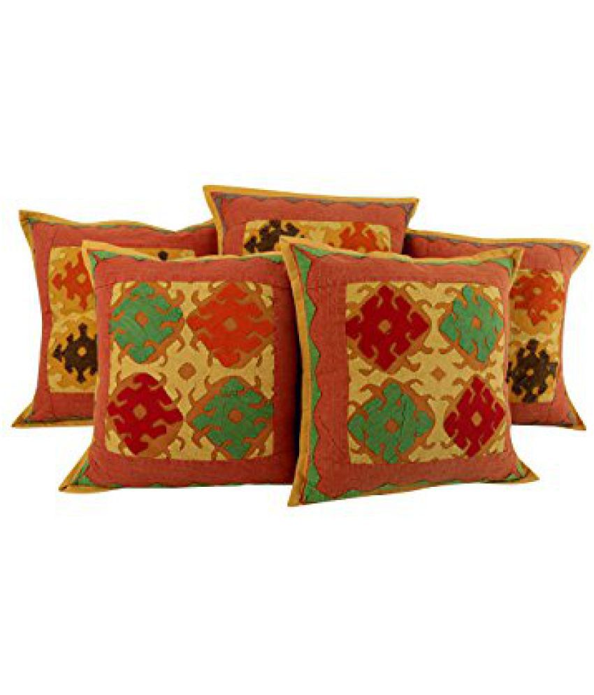 Decorative Red Set of 5 Attractive Pillowcases 17x17 Patchwork Kantha Work Cushoin Cover Trendy Cotton Pillow Shams By Rajrang