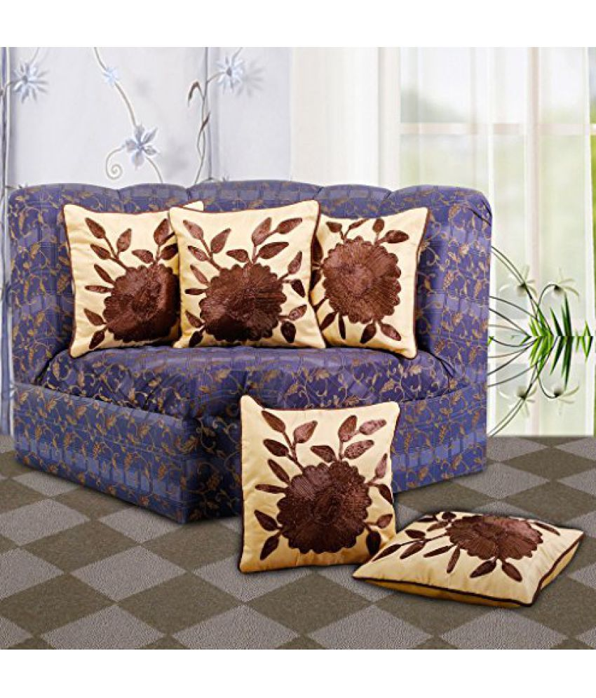 Dekor World Floral Embroidery Cushion Cover