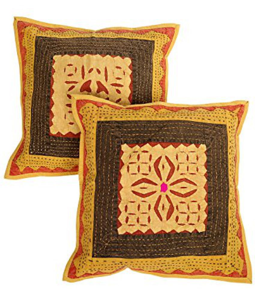 Rajasthani Traditional Yellow Pillow cover Cotton Patchwork Cushion Cover 17 By 17 Inch Pack of 2 Home Furnishing Sofa set By Rajrang