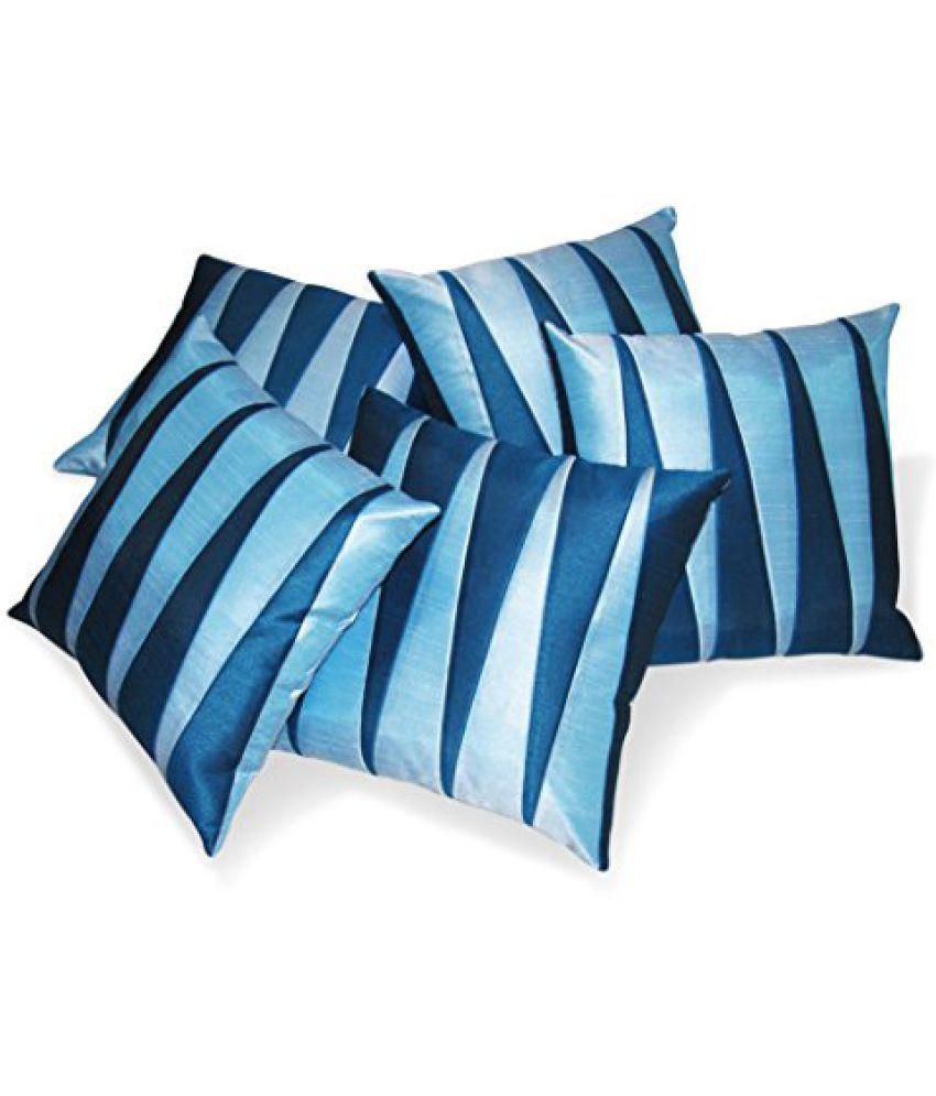Zikrak Exim Zig Zag Patch Blue & Sky Blue Cushion Cover 5 Pcs Set 40 x 40 cms