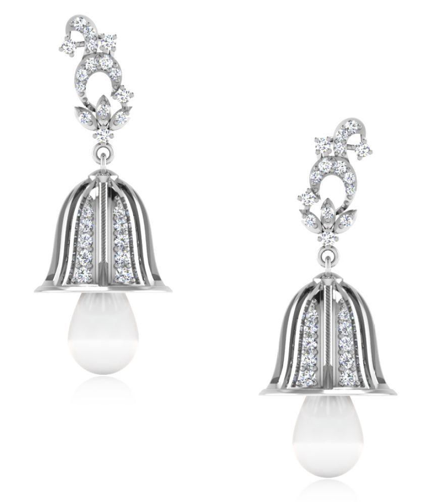 NaginabyIskiUski 14k BIS Hallmarked White Gold Diamond Jhumki