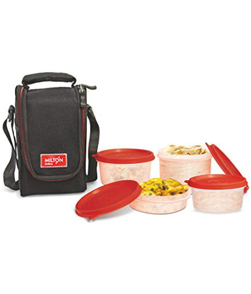 Milton Full Meal 4 Containers Lunch Box   Black  EC SOF FST 0017_BLACK
