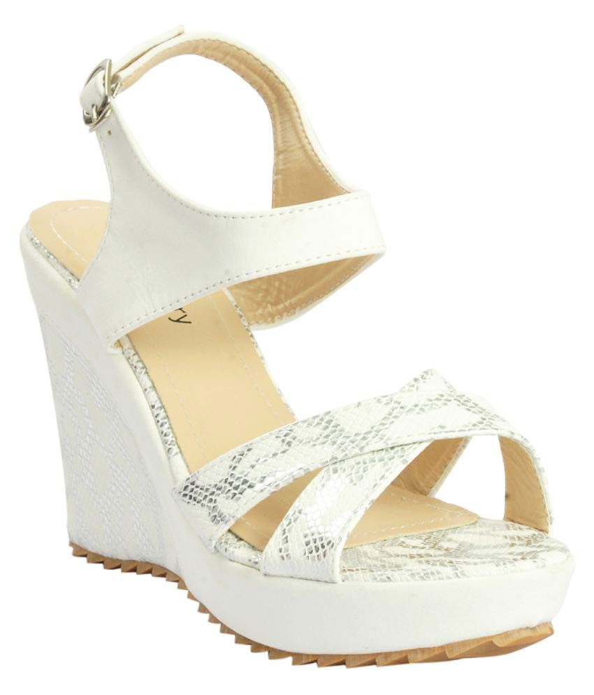 Shuberry White Wedges Heels