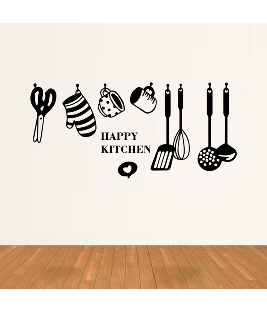 Hoopoe Decor Happy Kitchen Vinyl Black Wall Stickers - Buy Hoopoe ...