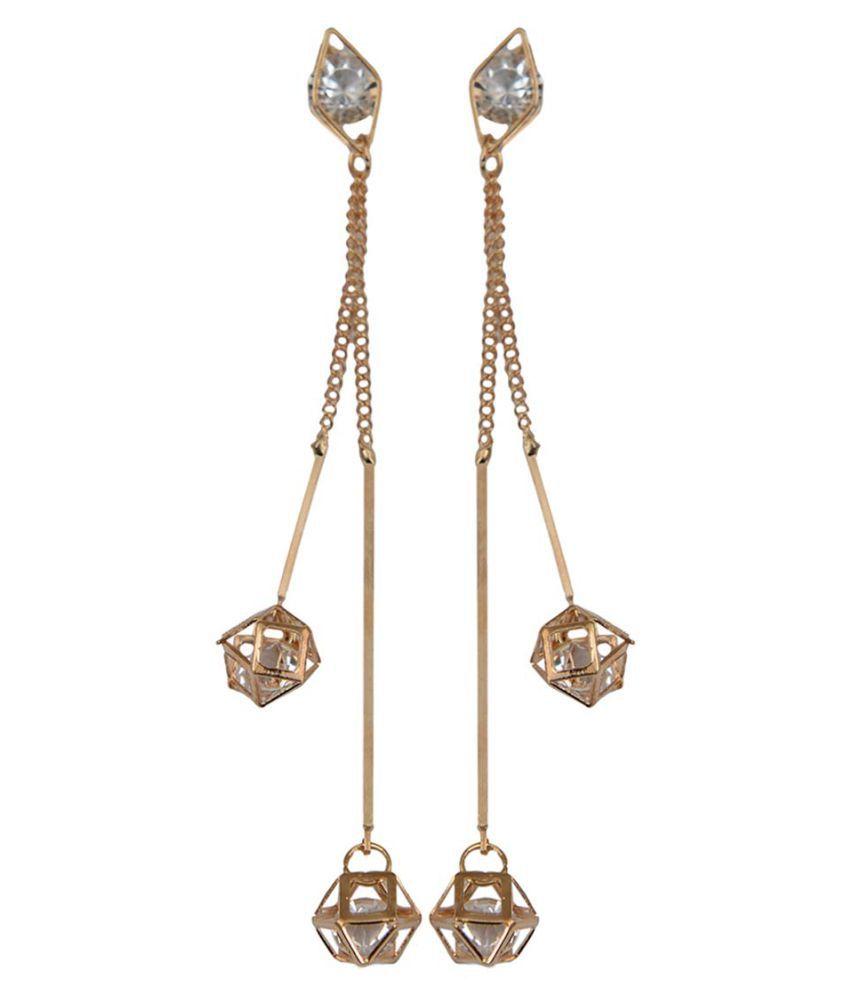 Taj Pearl Golden Hanging Earrings