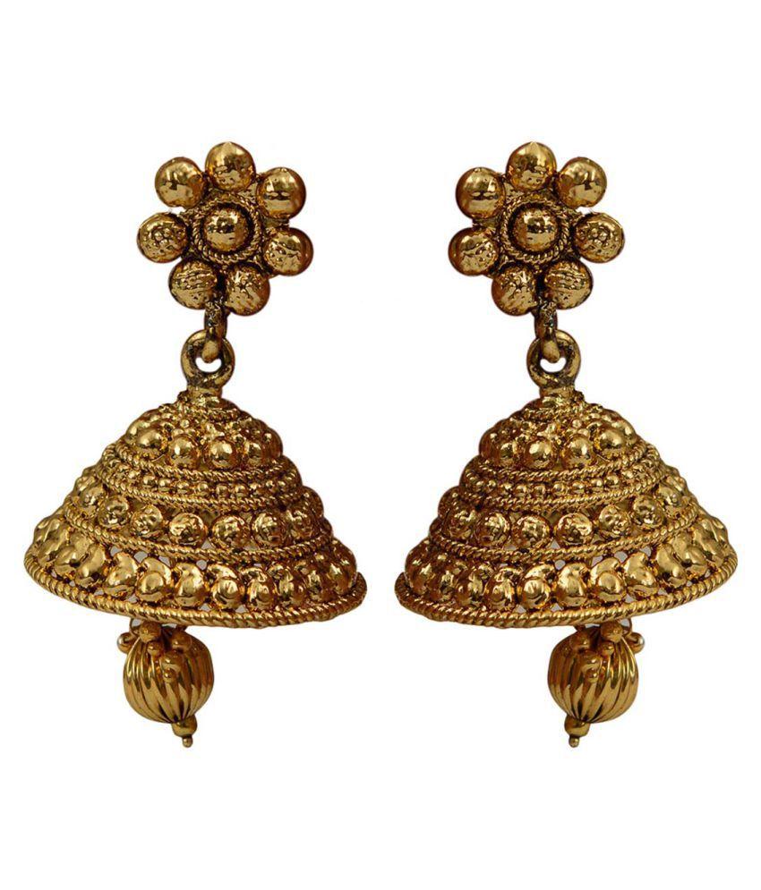 Taj Pearl Golden Jhumki Earrings