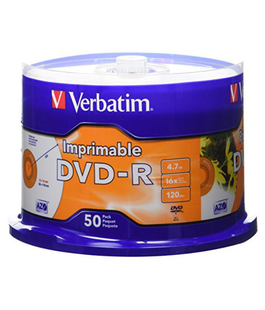 Verbatim 4.7 GB up to 16x White Inkjet Printable Recordable Disc DVD-R, 50-Disc Spindle 95137
