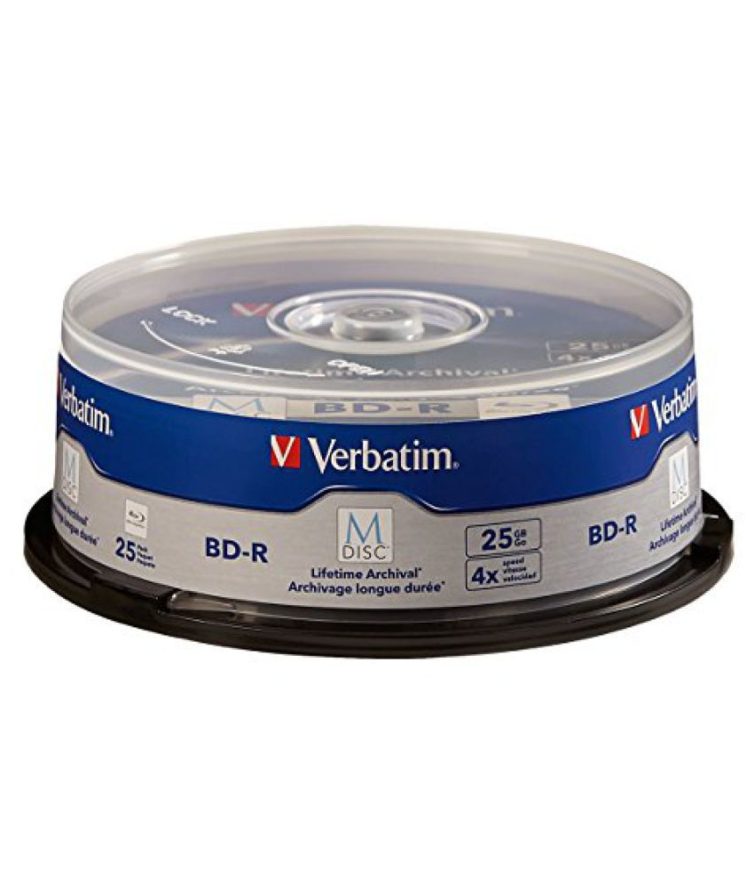 Verbatim M-Disc BD-R 25 GB 4X with Branded Surface - 25 Pack Spindle 98909