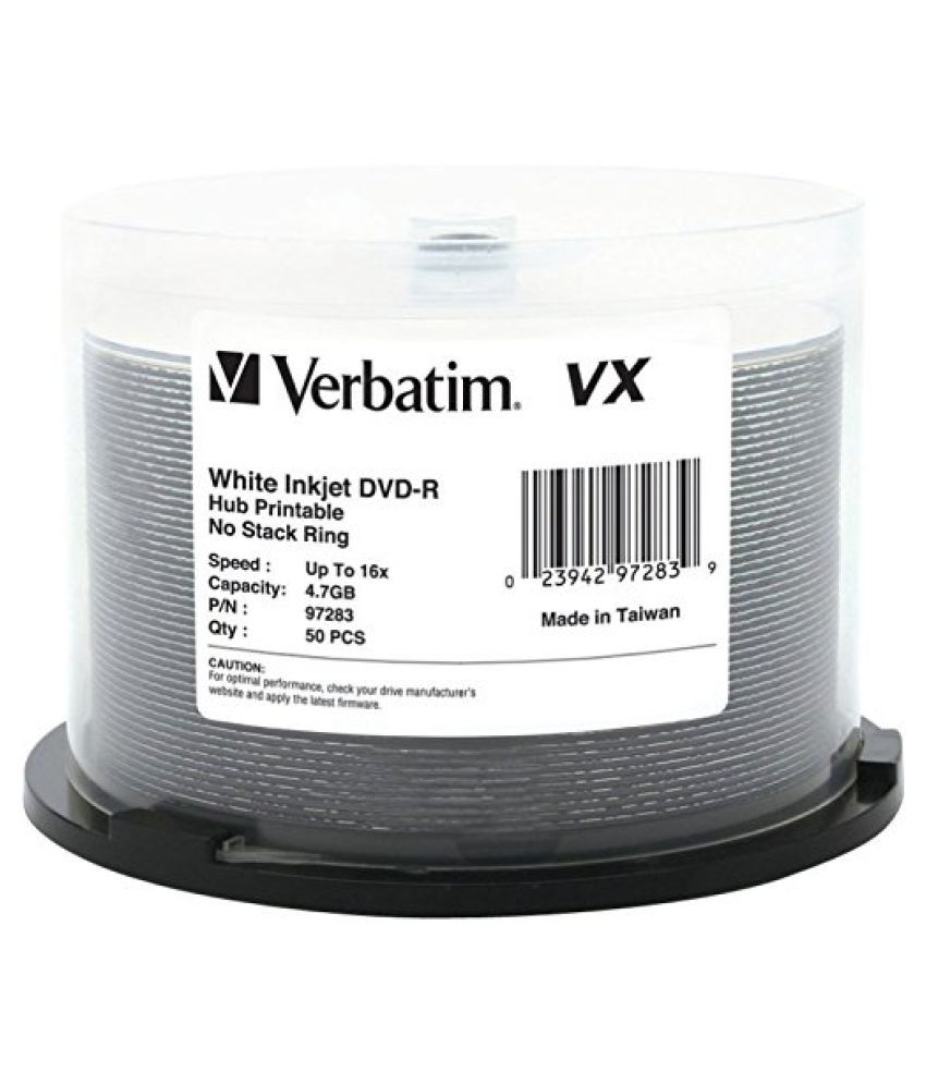 Verbatim VX White Inkjet Hub Printable 16X DVD-R Media 50 Pack in Cake Box 97283 by Verbatim