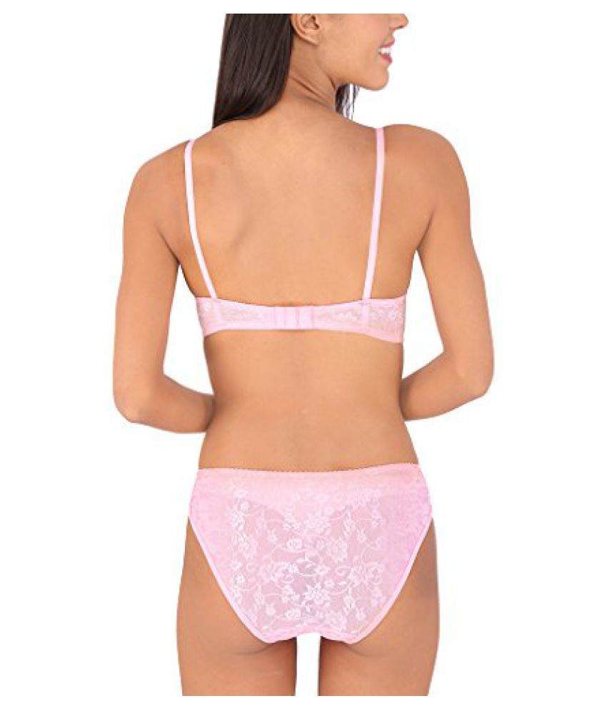 7ab0cfd3debde Buy Bralux Women's Madhu Lace Full Cup B Bra & Panty Set Pink Online ...