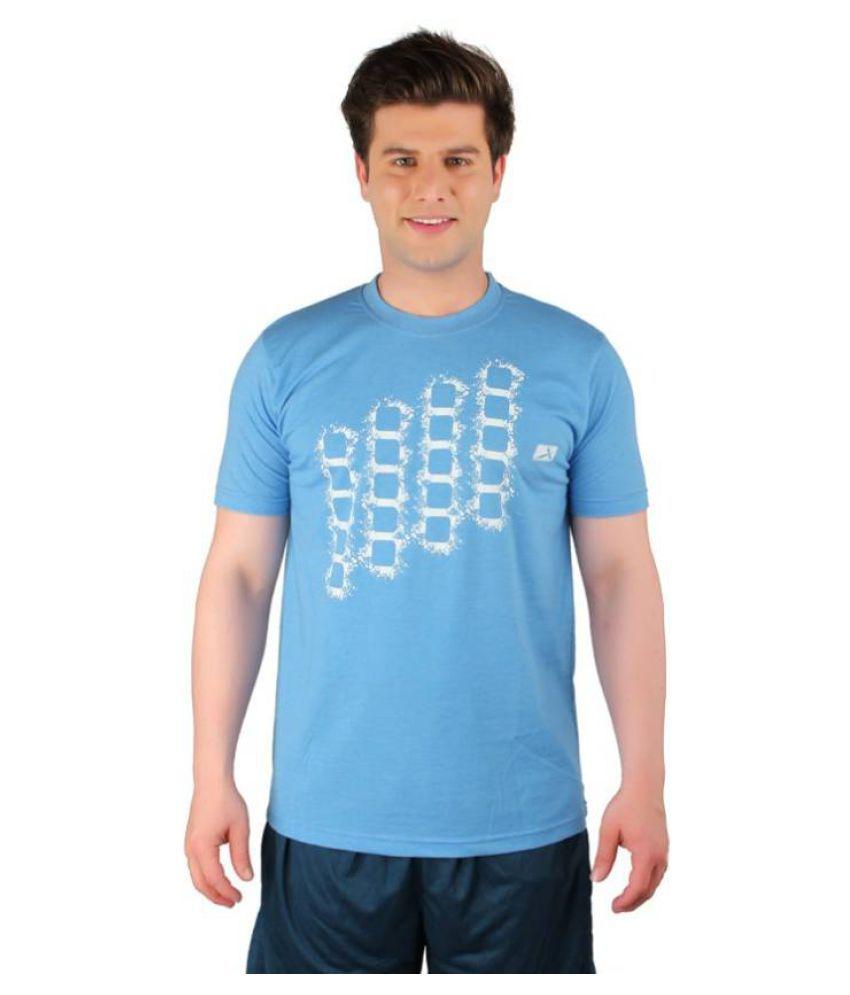 Vector X Printed Men's Round Neck Light Blue T-Shirt