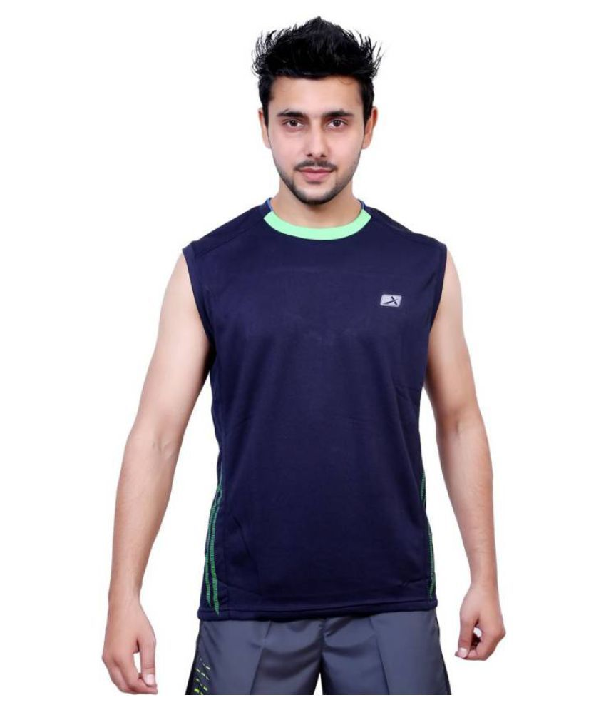 Vector X Solid Men's Sleeveless Round Neck Blue T-Shirt