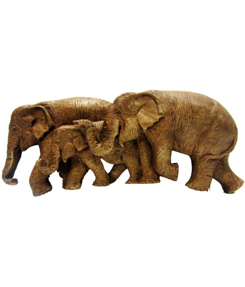 Earth Resin Elephant Mural Wall Sculpture Brown
