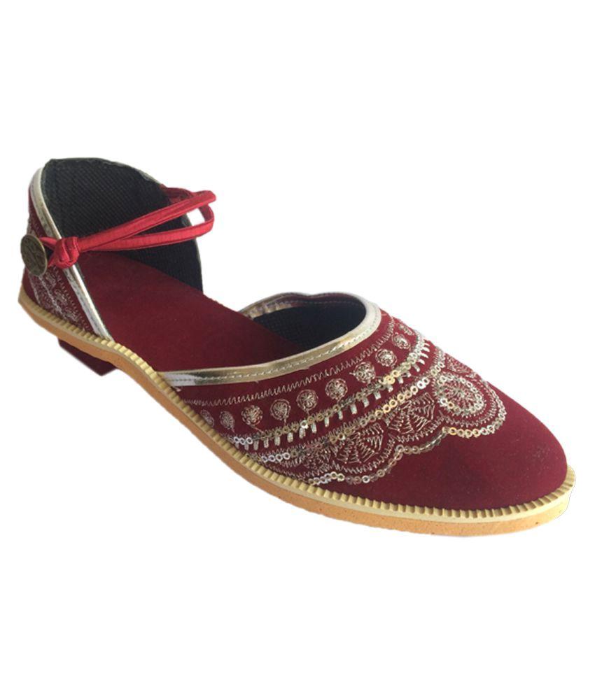 Indcrown Maroon Block Heels