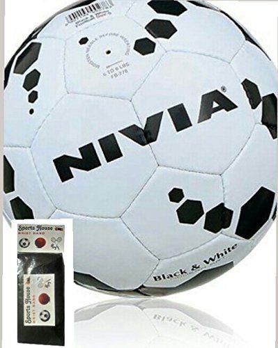 NIVIA BLACK & WHITE FOOT BALL (SIZE-5) WITH FREE SPORTSHOUSE WRIST BAND
