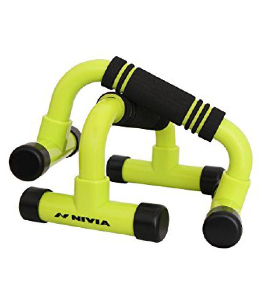 Nivia 11028 Dynamic Plastic Gym and Home Fitness Push-Up Bars, (Green)