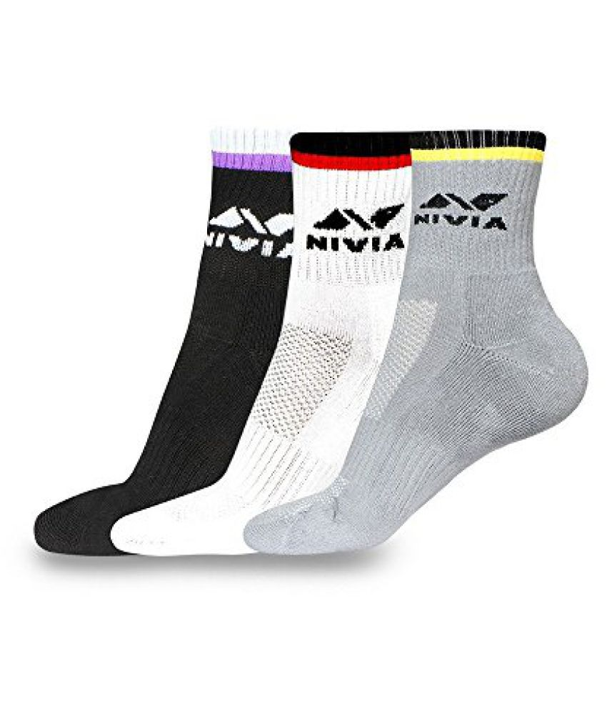 Nivia SS878 Sports Cotton Socks, Men's Large Pack of 3 (Assorted)