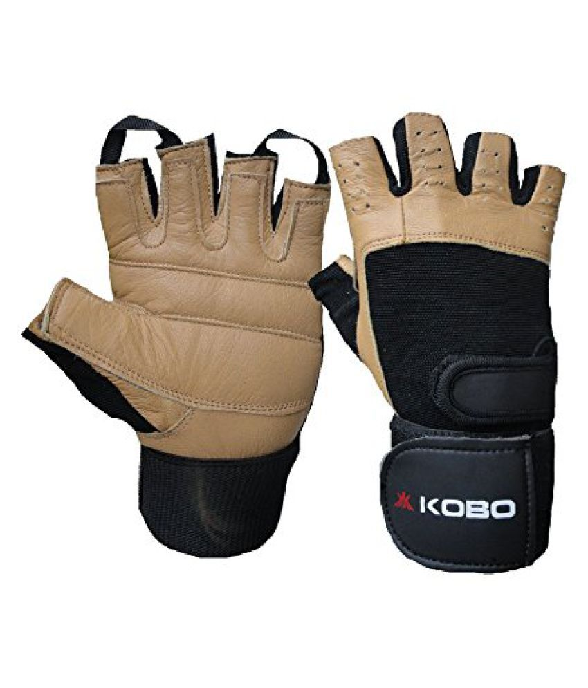 KOBO Weight Lifting Gloves / Gym Gloves / Fitness Gloves/Black/Brown (Imported)