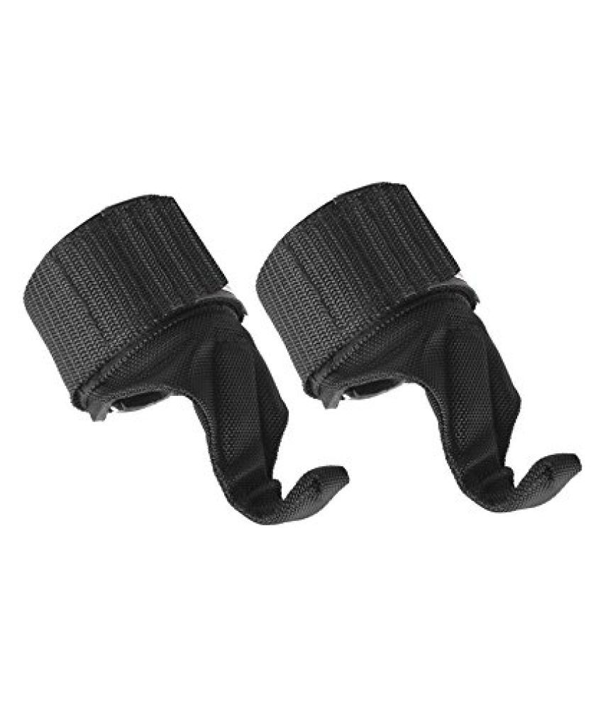 Kobo Black Power Weight Lifting Training Gym Straps Dumbbell Hook Support