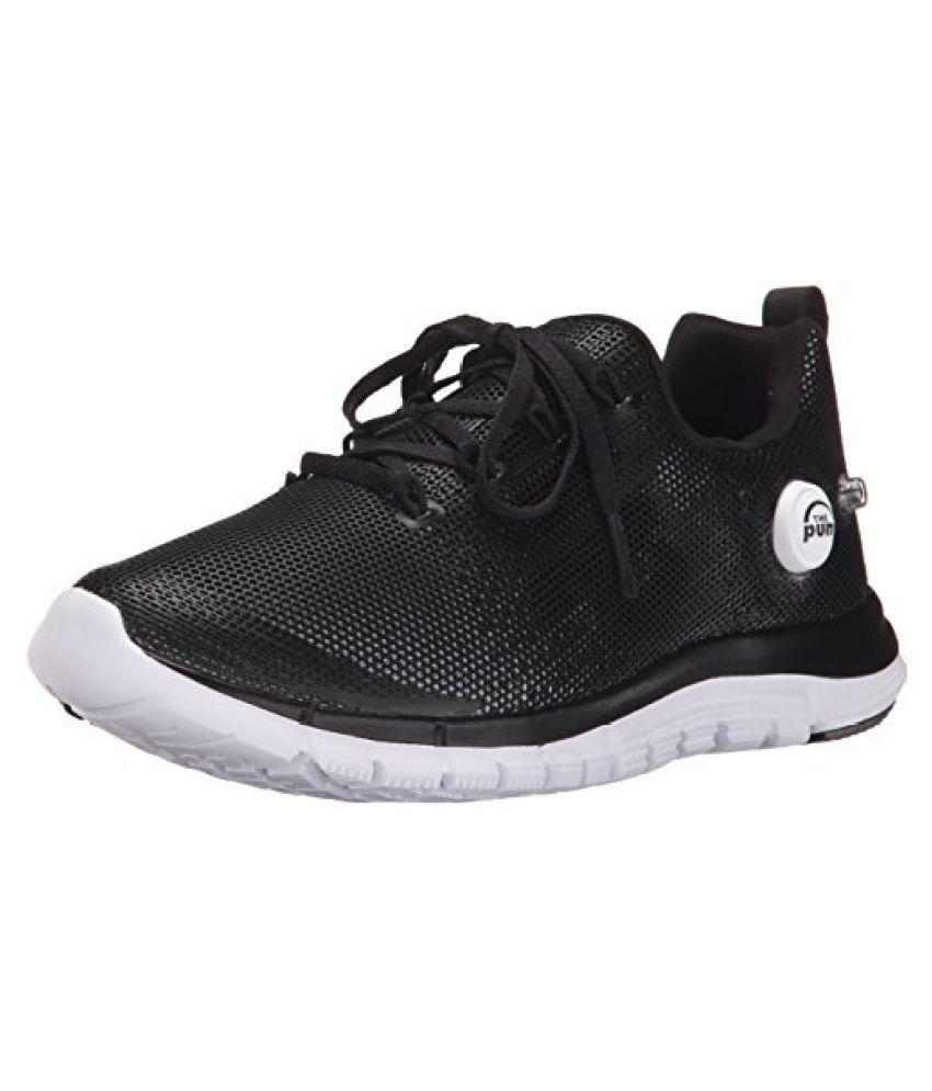 Reebok Zpump Fusion PU Running Shoe Little Kid Big Kid Black/White 6 M US Big Kid