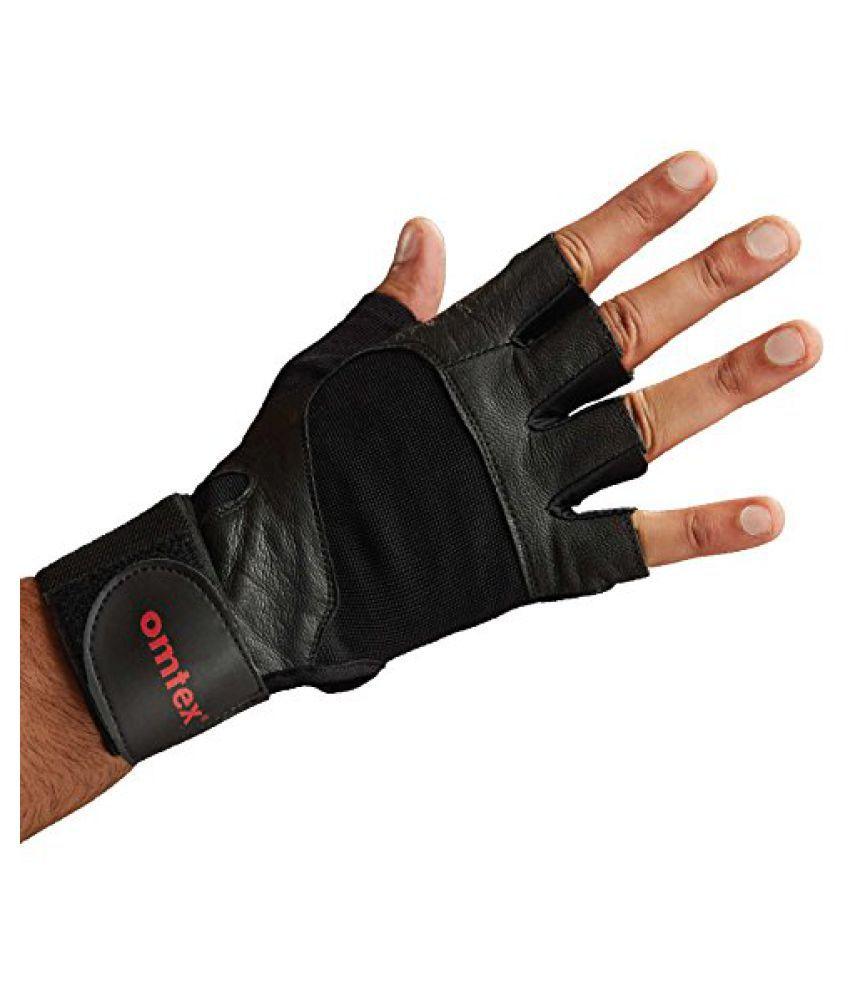 omtex Pro Gym Gloves for men Half Finger gloves with adjustable strap / Hand Support / Wrist Support