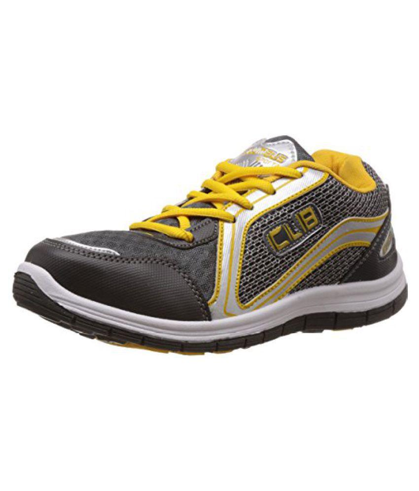 Columbus Men Grey Yellow Sports Shoes