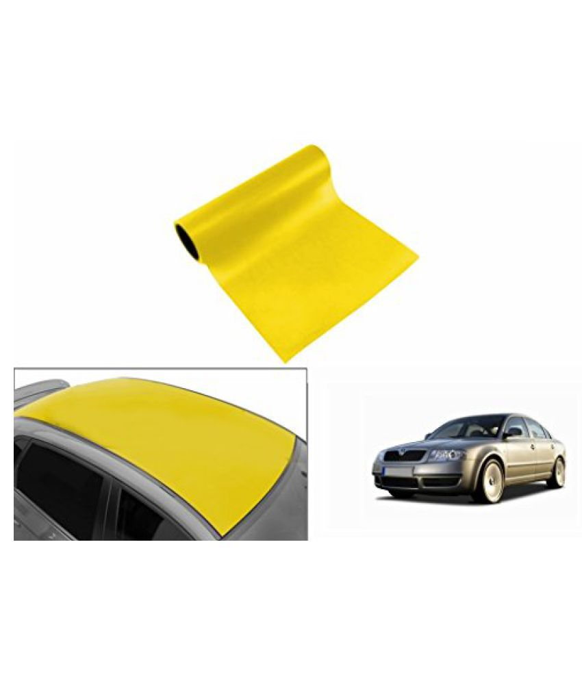 Speedwav Car Roof Glossy Wrap Sheet Neon Yellow-Skoda Superb Type 1 (2004-2010)
