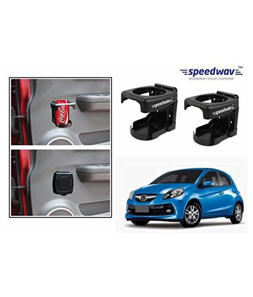 Speedwav Foldable Car Drink/Can/Bottle Holder Set Of 2 BLACK-Honda Brio