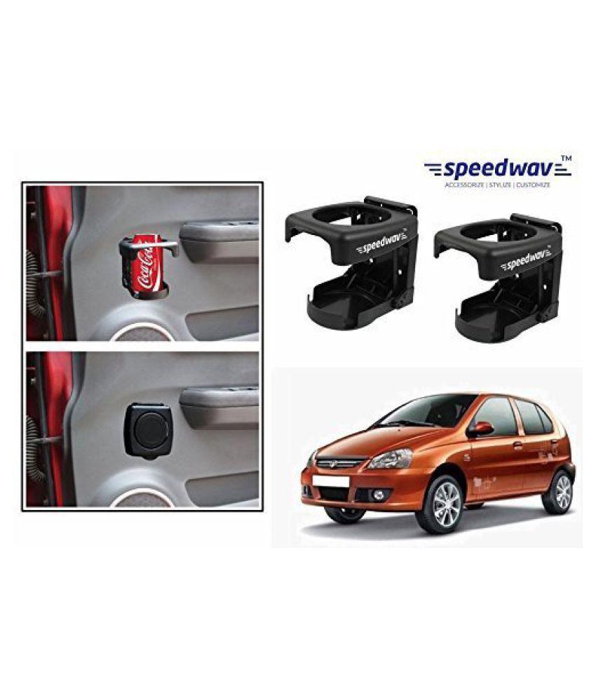Speedwav Foldable Car Drink/Can/Bottle Holder Set Of 2 BLACK-Tata Indica Vista